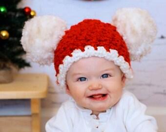 6-9 mth Christmas Bonnet Holiday Season Bonnet Newborn Christmas Bonnet photography Props Christmas Pixie Bonnet