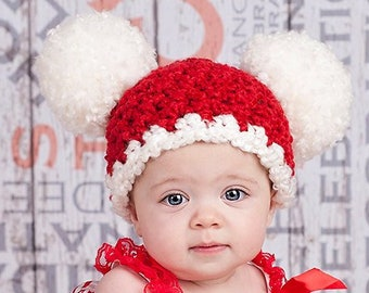 e3061c1dc62de Newborn Baby Toddler Girl Boy Women s Sizes Christmas Santa Pom Pom Winter Hat  Xmas Card Family Pictures Photo Props Red   White Candy Cane