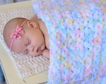 Baby girl blanket 14 colors white pastel chunky crochet knit newborn photo prop for photography soft fluffy winter wrap unique shower gift