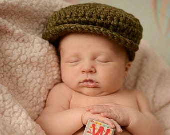 Baby Boy Hat Irish Donegal Cap Baby Hat Crochet Donegal Hat Olive Green Photography Prop Baby Boy Photo Prop Baby Boy Clothes Photo Prop