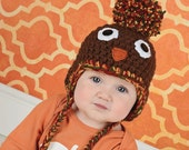 Thanksgiving turkey baby hat giant pom pom beanie with braids fall autumn newborn photo prop for family pictures toddler kid adult sizes