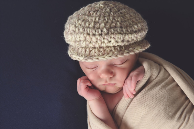 Newborn baby boy hat 24 colors Irish wool newsboy dapper hospital cap for coming home outfit photography photo props shower gift tan /& cream