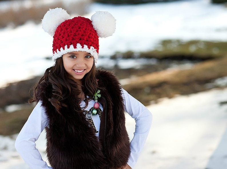 8f7c20d5460c2 Santa Hat All Sizes Christmas Beanie Pom Pom Photo Prop