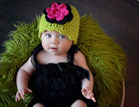 Newborn Baby Girl Hat Newborn Girl Hat Lime Green Baby Hat  92715928ad3b