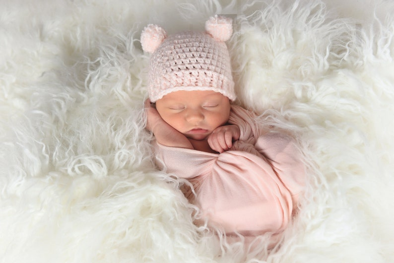 Pale pink newborn baby girl hat mini pom pom bear beanie | Etsy