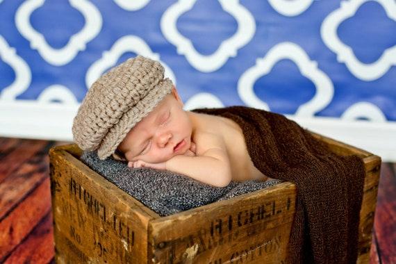 Melondipity Little Man Newsboy Crocheted Baby Boy Hat Blue Beanie
