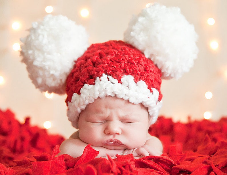 d003ddc834284 Baby Christmas Hat All Sizes Newborn Baby Girl   Boy Hat Pom
