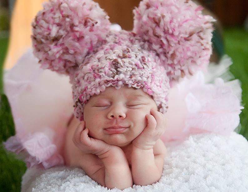 Baby girl hat 18 colors giant pom pom chunky crochet beanie image 0