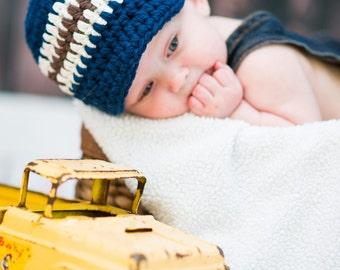 Baby Boy Hat 0 to 3 Month Navy Blue Baby Hat Baby Boy Clothes Photo Prop Photography Prop Baby Boy Gift Baby Boy Cap Baby Hat Boy Ecru Brown