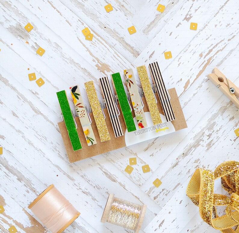 Washi Clothespins Mini Clothespins Green Gold Black Aqua Etsy