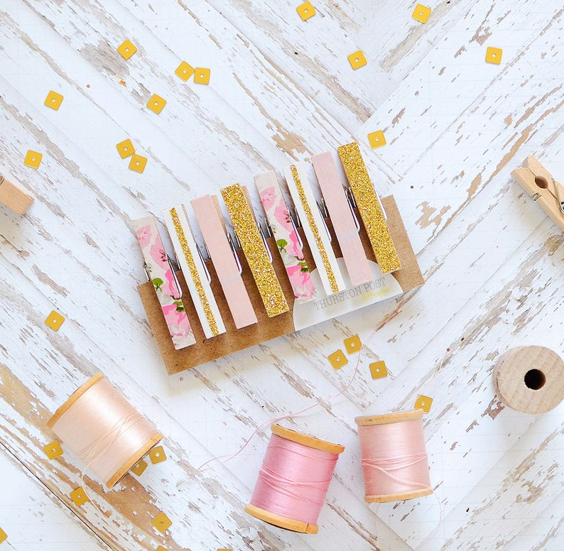 Washi Clothespins Mini Clothespins Pink Gold Floral Etsy