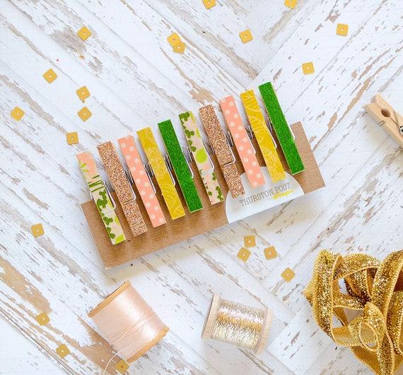 Washi Clothespins Mini Clothespins Green Copper Peach Etsy