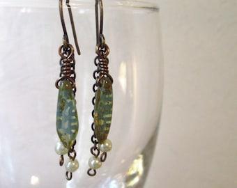 Czech Glass Turquoise Dagger Earrings