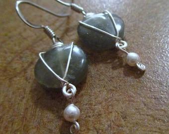 Labradorite Wire-Wrapped Earrings