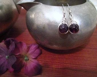 Silver Braided Amethyst Drop Earrings