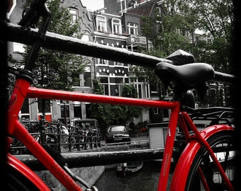 16x20 Amsterdam Red Bike Fine Art Print Travel Vintage Wall Home Decor