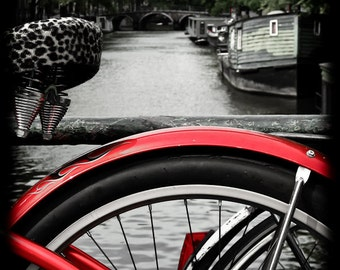 Red Amsterdam Bike 5x7 Fine Art Print Vintage Canal Red Cycling Wall Decor