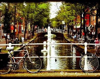Amsterdam Canal and Bike 5x7 Fine Art Print Bike Netherlands Summer Grunge Vintage Wall Home Decor