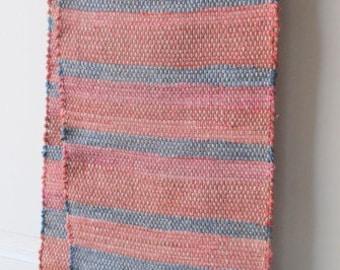 66 by 12  wide reused  fabric Rag Table  Runner Table  Rug Table Runner Teal-Aqua.. Handwoven