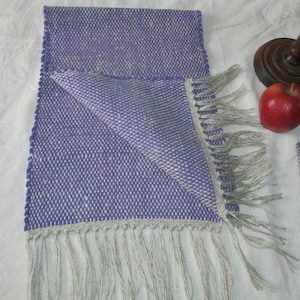 Purple Table runner by  12  wide 40  cotton fringe handwoven