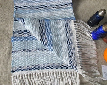 "Table Runner,  Blue  and  White.. Elegant table rug,   total length 42"", 12""wide handwoven at home  by Martha"
