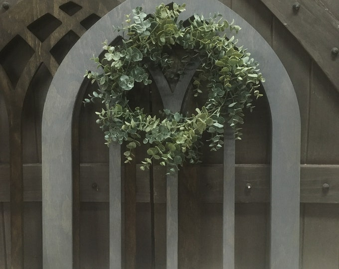 Cathedral Window Frame, Wall Hanging, Wood Window Frame, Wreath Hanger