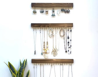 Jewelry Organizer Wall Mount Set of Three | Earring Holder | Necklace Holder | Necklace Hanger