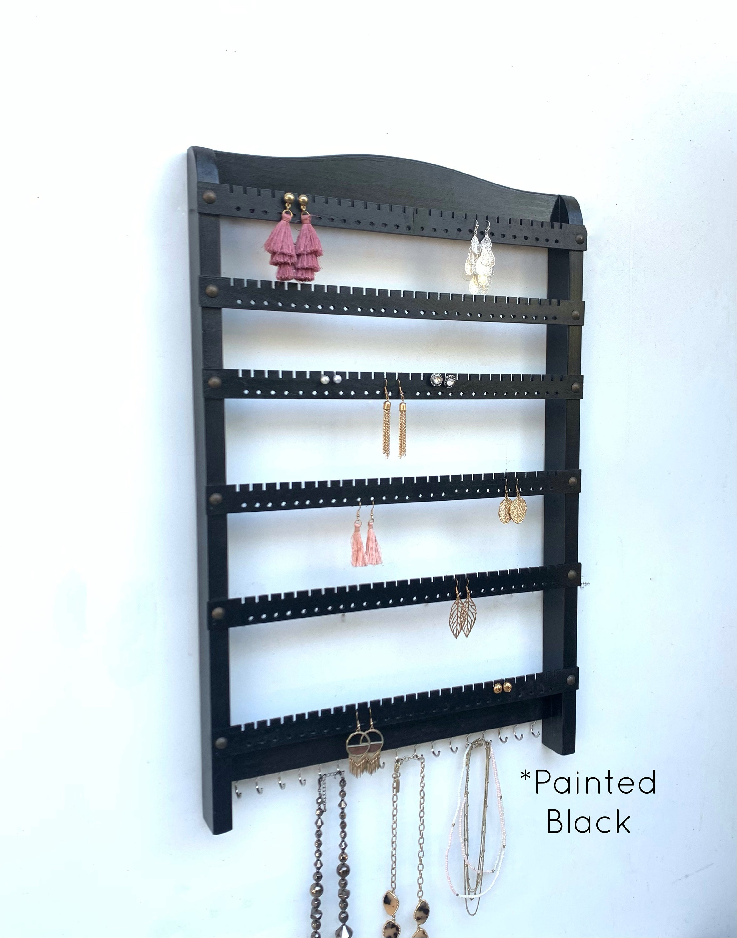 Large Jewelry Organizer Wall Mount Jewelry Hanger Necklace Holder I Earring Holder Wall Mount