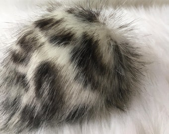 The SNOW LEOPARD pom, black and white pom, hat topper, faux fur pom for hats, beanies, fake fur, fluffy multiple sizes