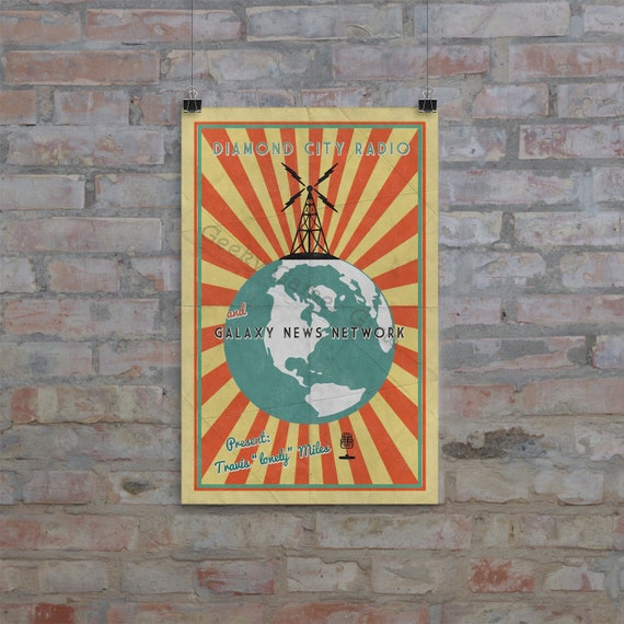 Fallout Poster Diamond City Radio Poster Vintage Look Etsy