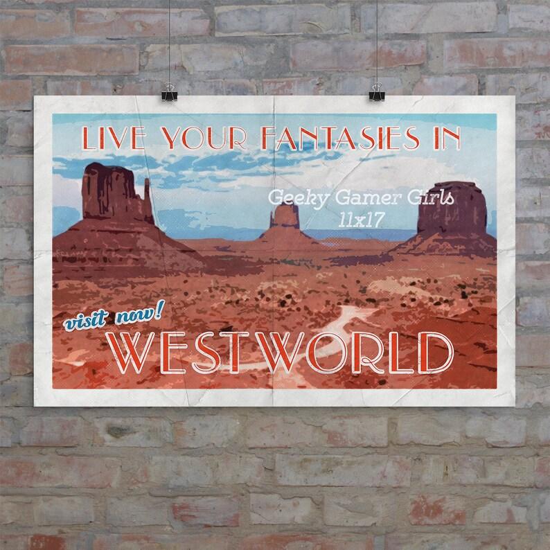 Westworld Poster | Westworld travel poster | Vintage travel poster |  Videogame art | no frame or mat