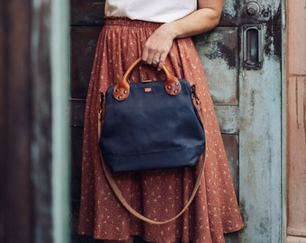 Vintage-Inspired Tool Bag Purse / Leather & Canvas Carryall