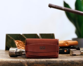 Plume Card Wallet - Simple Enclosed Flap Wallet for Credit Cards & Business Cards - Minimalist Flap Wallet with Copper Rivets