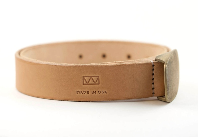 0aa3b36c466 Natural Vegetable Tanned Belt with Lost Wax Bronze Buckle Made In America