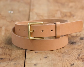 Natural Vegetable Tanned Belt with Solid Brass Buckle