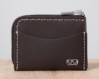 Manteo Zip Wallet with External ID Pocket (Cash Version) | Minimalist Zipper Wallet | Small Zip Wallet
