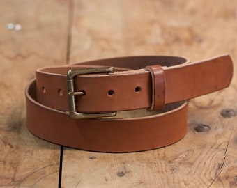 Brown Vegetable Tanned Belt with Solid Brass Buckle