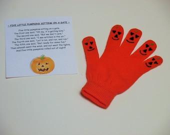 Pumpkin hand puppet, finger play activity
