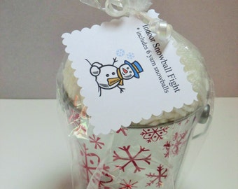 Indoor snowball fight, winter party favors, winter games