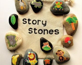 Jungle story stones, Imagination builder, teacher gifts, story telling