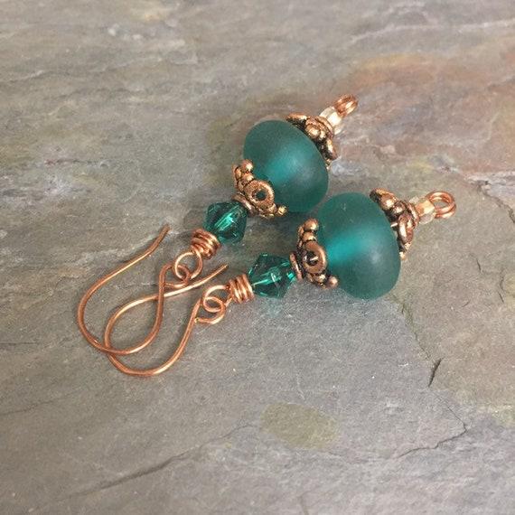 ae92f688eca18 Copper and teal earrings, lampwork glass earrings
