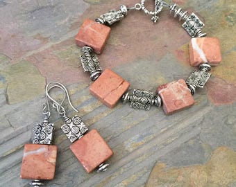 XOXO bracelet and earrings set, red marble and pewter set, silver xoxo spacers, marble Jewelry