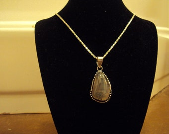 """Beautiful 2"""" Natural Moss Agate 925 Sterling Silver Plated Pendant"""