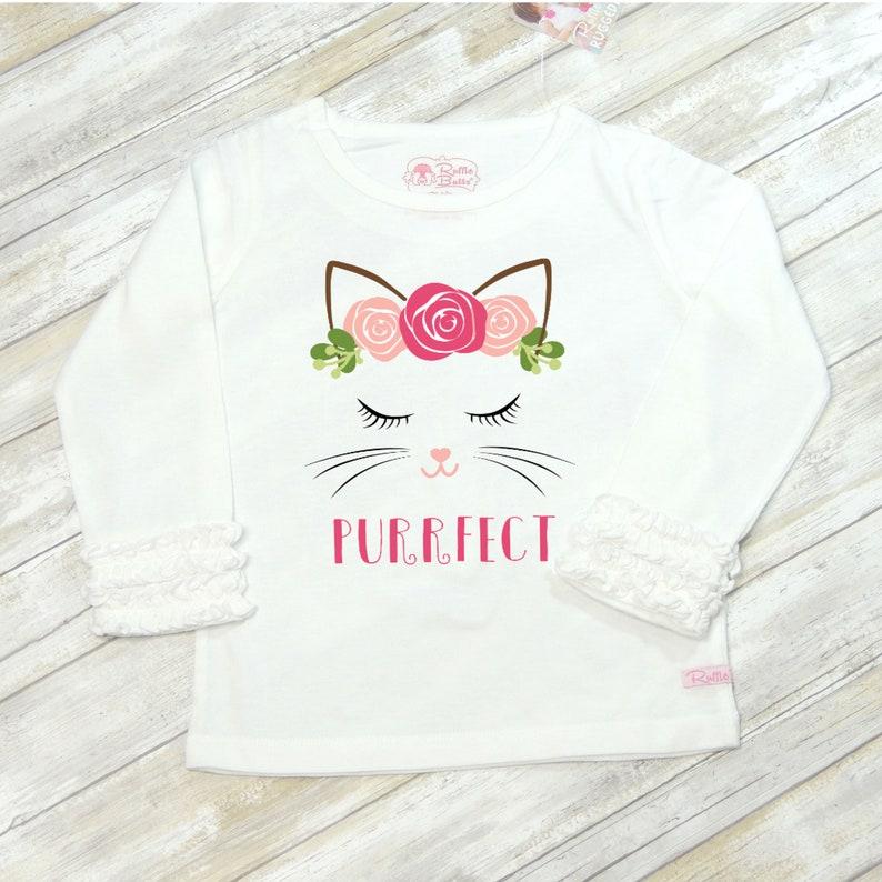 d5a97d882 Girl's Cat Shirt Purrfect Cat Shirt Personalized Cat   Etsy