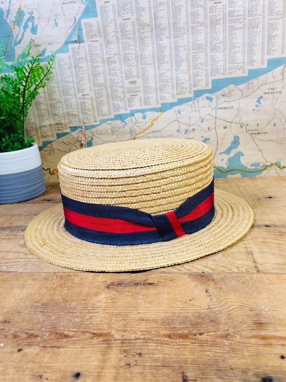 Antique boaters Hat with red and blue ribbon, vint