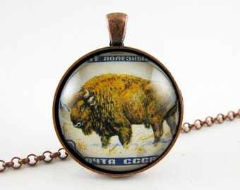 Bison Pendant, Vintage Russian Postage Stamp, Antique Copper Pendant, Long Chain, Navy and White, Fashion Statement Jewelry, Animal Necklace