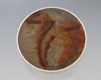 Concrete and rusted steel brooch
