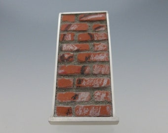 Sterling and Brick Brooch