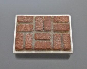 Sterling Basket Weave Brick Brooch