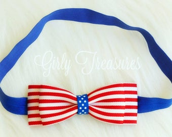 American Bow Headband. Red white and Blue Bow Headband. Girls Bow Headband. Toddler Headband. 4th of July Headband. Memorial Day Bow.